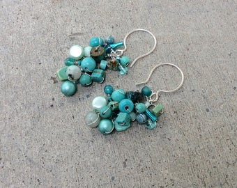 Fringe earrings. handmade earrings by UniqueNecks.  wire wrapped sterling silver teal. Aqua. Turquoise.