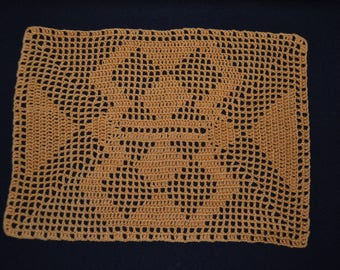 Handmade new. Doily 26 x 18, caramel, fine crochet cotton.