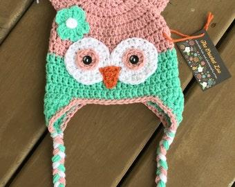 Crochet Owl Hat, Infant Owl Hat, Crochet Kids Hat, Baby Girl Hat, Girl Owl Hat, Kids Owl Hat, Newborn Photo Prop