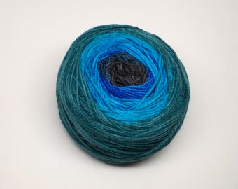 Gradient Targhee Wool/silk , Hand dyed Sport Weight