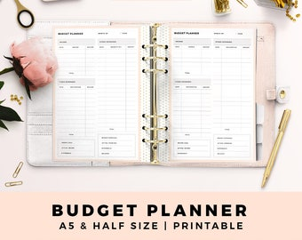 A5 HALF Size Budget Planner, Monthly Budget, Financial Planner, Personal Printable Planner Inserts