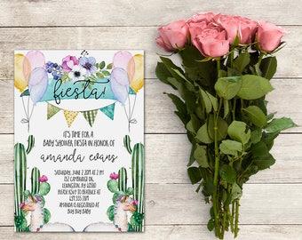 Fiesta Baby Shower Invitation, Cactus Baby Shower Invitation, Llama Baby Shower Invitation, Fiesta Invitation,Watercolor, Printable No. 1034