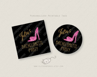 Bachelorette Party Tag Glittery Pink Shoe Custom Printable favor tags gold glitter personalized digital download stickers cupcake toppers