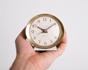 Baby Ben Clock, Westclox Alarm Clock, Made in USA, Cream white and Gold, Home Decor, Wedding Gift Idea