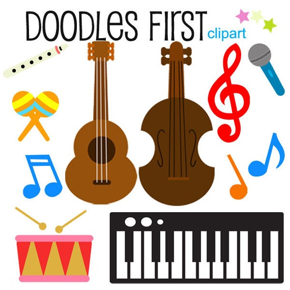 musical instruments clipart digital clip art for scrapbooking rh etsy com musical instruments clip art black and white musical instruments clipart black and white