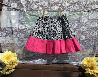 Damask and Pink Tiered Skirt