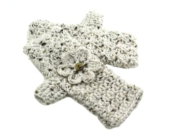 Made to Order Crochet Fingerless Gloves with Flower in Earth Tones