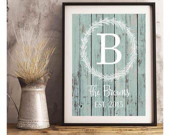 SALE-Custom Initial Last Name Est. Wreath On Barnwood Background-Digital Download Print- Wall Art- Digital Designs- Gallery Wall-Anniversary