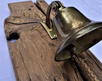 Authentic Pub Brass Time Bell 16th Century Solid English Oak.