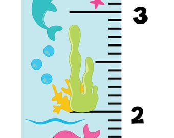 Growth Chart, Ocean Growth Chart, Wall Decal Growth Chart, Ocean Wall Decals, Kids Height Chart, Kids Measuring Chart, Kids Growth Tracker