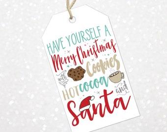 Christmas Santa Gift Tags | Printable Santa Gift Tags | Holiday Gift Tags | Have Yourself a Merry Christmas Gift Tags
