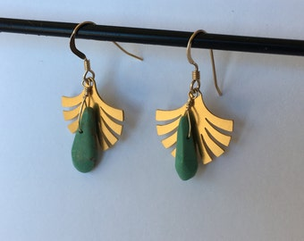 earrings with gold fan and turquoise drop