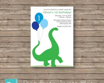 Kids Dinosaur Birthday Party Invitation Printable Blues