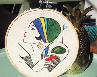 African Illustration in fabric by hand * Ilustração exclusiva em tecido