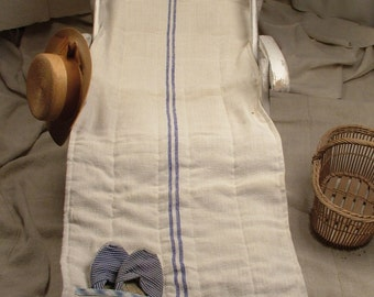 Natural Linen Beach Mat or Deck Chair Cover with Blue Stripes