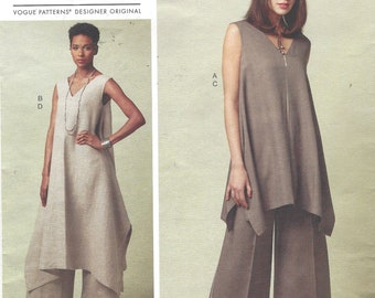Paco Peralta Womens Lagenlook Tunic and Pants in 2 Lengths Perfect for Linen Vogue Sewing Pattern V1550 Size 6 8 10 12 14 Bust 30 1/2 to 36