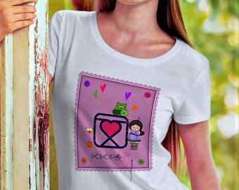 T-SHIRT girl - woman - white  - MINISHOPPER and BUTTON included - needle and thread kokoronaif tees