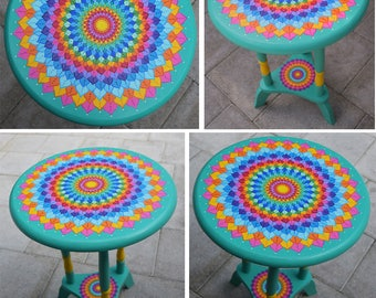 Hand painted round accent table. Painted Furniture, Boho Style. Solid wood 22.5 x 16 inches. Mandala table.