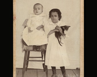 1890s Cabinet Card - Little Boy & Girl and Their Cat / Kitten