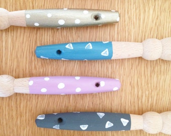 Hand Painted Wooden Pastry Brush. Polka Dot or Triangles Patterning. Baking - Foodie Gift - Cooking Utensils