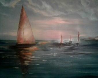 Transparent sails. Boats. Sunset