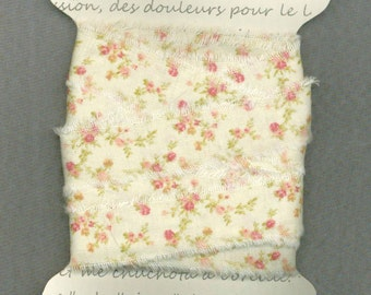 6  yards, Pink floral cream, cottage chic ribbon, .75 wide fabric ribbon, rustic prairie hand frayed ,gift wrap trim card making 1187 37