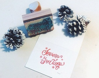 CLEARANCE Season's Greetings calligraphy rubber stamp Christmas Holiday Snowflake