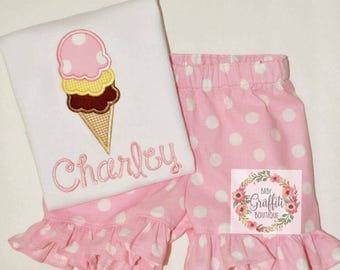 Ice Cream Monogrammed Shirt and Shorts Set