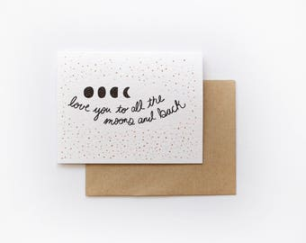 All the Moons and Back Card, Love Greeting Card, Moon Greeting Card, Everyday Love Card