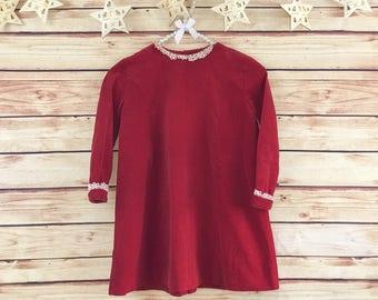 Vintage 1960's Calliope Girls Red Velvet Smock Dress, Girls Mod Christmas Dress, White Lace Detail, Girls 60's Retro Shift Dress, Size 5-6Y