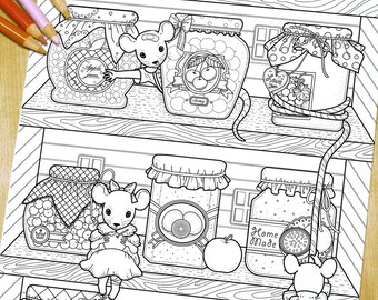 Lovely mice with jars - Adult Coloring Page Print