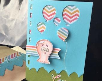 """peekaboo"" Octopus card and balloons"