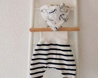 Sailor set - scalable harem pants and bandana bib - 3 months and up