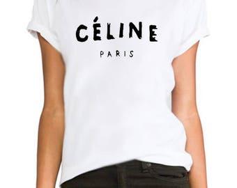 Celine Paris celebrity fashion tumblr Rihanna printed hipster swag  ladies/womens/girls 100% cotton tshirt tops tee