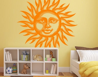 Happy Sun Face Vinyl Wall or Ceiling Decal many sizes and colors to pick from K654