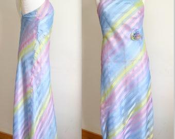 Unique Evening gown silk designer evening dress maxi rainbow prom dress long Augustus red carpet dress size M US 10