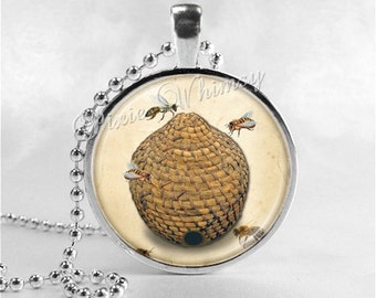BEEHIVE Necklace, Beehive Jewelry, Beehive Pendant, Glass Art Pendant Charm, Honey Bee Jewelry, Apiary, Beekeeping, Bee Hive