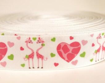 "5 yards of 1 inch ""flamingo"" grosgrain ribbon"