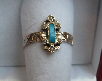 Victorian 10k Turquoise and Seed Pearl Ring Size 6.5 to 6.75