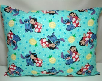 "TRAVEL Pillowcase / 12"" X 16""  Pillow Cover / Aqua LILO & STITCH Fabric / Kid Pillow / Adult or Kids Travel Pillow / Lilo Stitch Pillowcase"