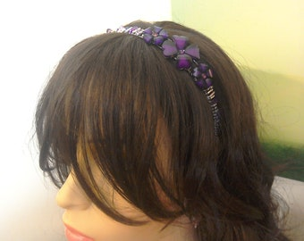 Bridesmaid Tiara purple floral beaded hair decoration