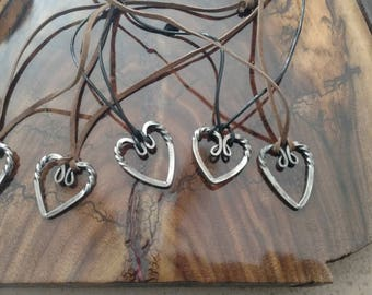 hand forged heart pendant