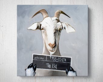 Billy the Kid Goat - Oil Painting Giclee Gallery Mounted Canvas Wall Art Print