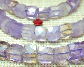 47 pcs of Natural Ametrine Faceted cube beads,Ametrine square beads in 8mm