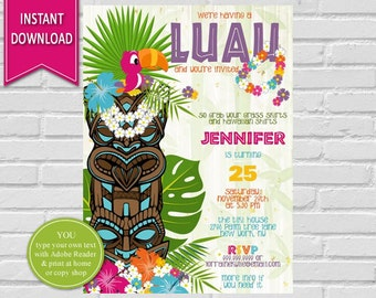 Luau Birthday Invitation | Luau Party, Hawaiian Party, Hawaiian Birthday, Tropical Invitation, Hawaiian Luau, Luau Birthday Invitation