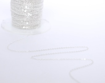 Sterling Silver Chain by the Foot - 1.3mm Flat Cable Chain - Thin Chain - Delicate Chain - Wholesale Chain - Custom Length / SS-CH008