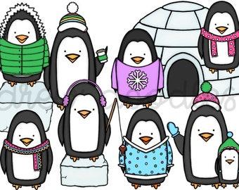 Penguin Digital Clip Art Set- Instant Download