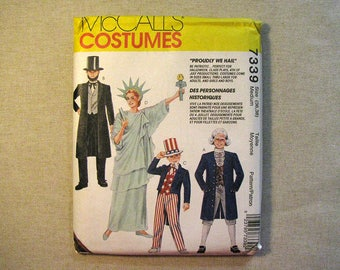 Vintage McCalls 7339 Halloween Costume Sewing Pattern - Size 36, 38 Adult Size Medium - Patriotic Costume Pattern - Lady Liberty, Uncle Sam