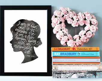 Jane Eyre Quote Print - Charlotte Bronte Quote - Literary Wall Art - Literary Gift - Book Quote - Literary Prints, Literature Gift