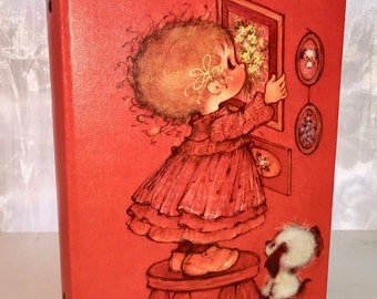 Vintage Photo Album Hallmark Orange. With Labels. Little Girl and Puppy on Cover.